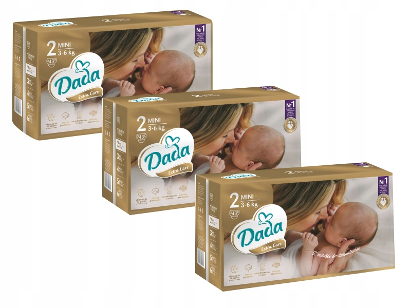 Dada Pieluchy Extra Care 2 MINI 3-6kg 3x43 129szt