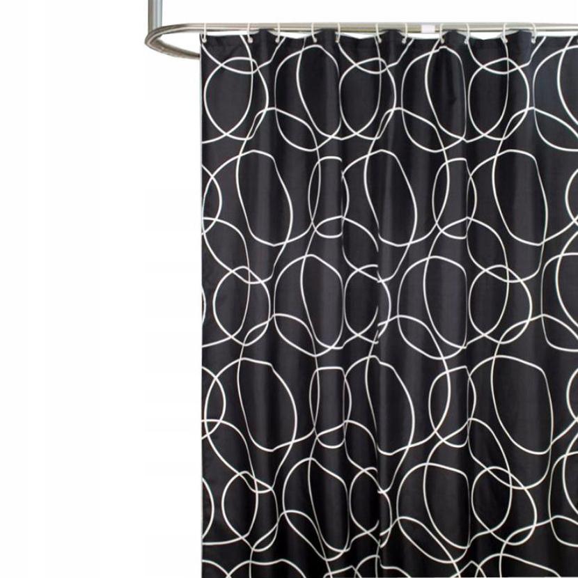 Sprchový záves s háčikmi čierny 180x180cm