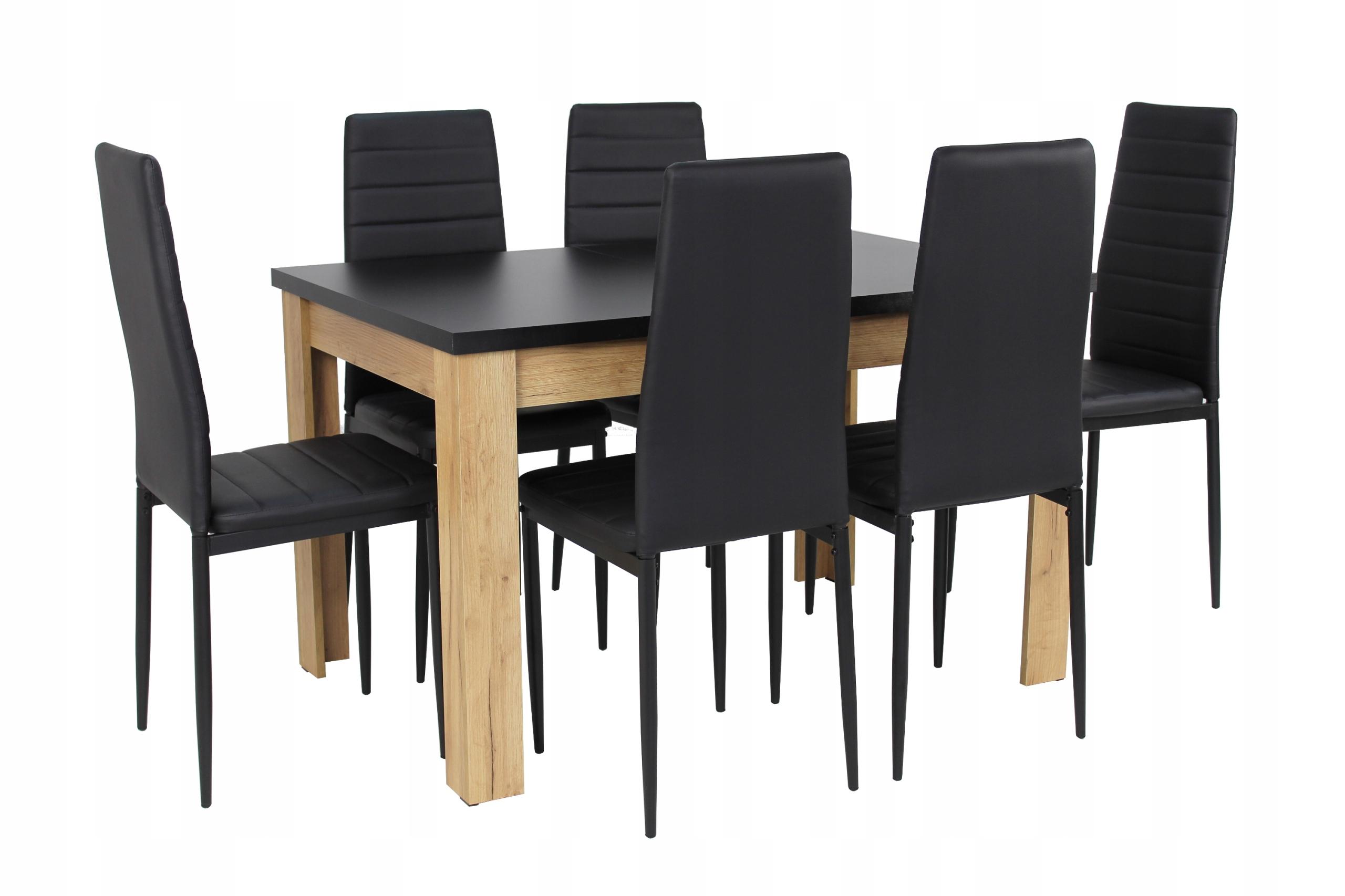 6 krzeseł i stół 80x120/160 Modny zestaw Loft