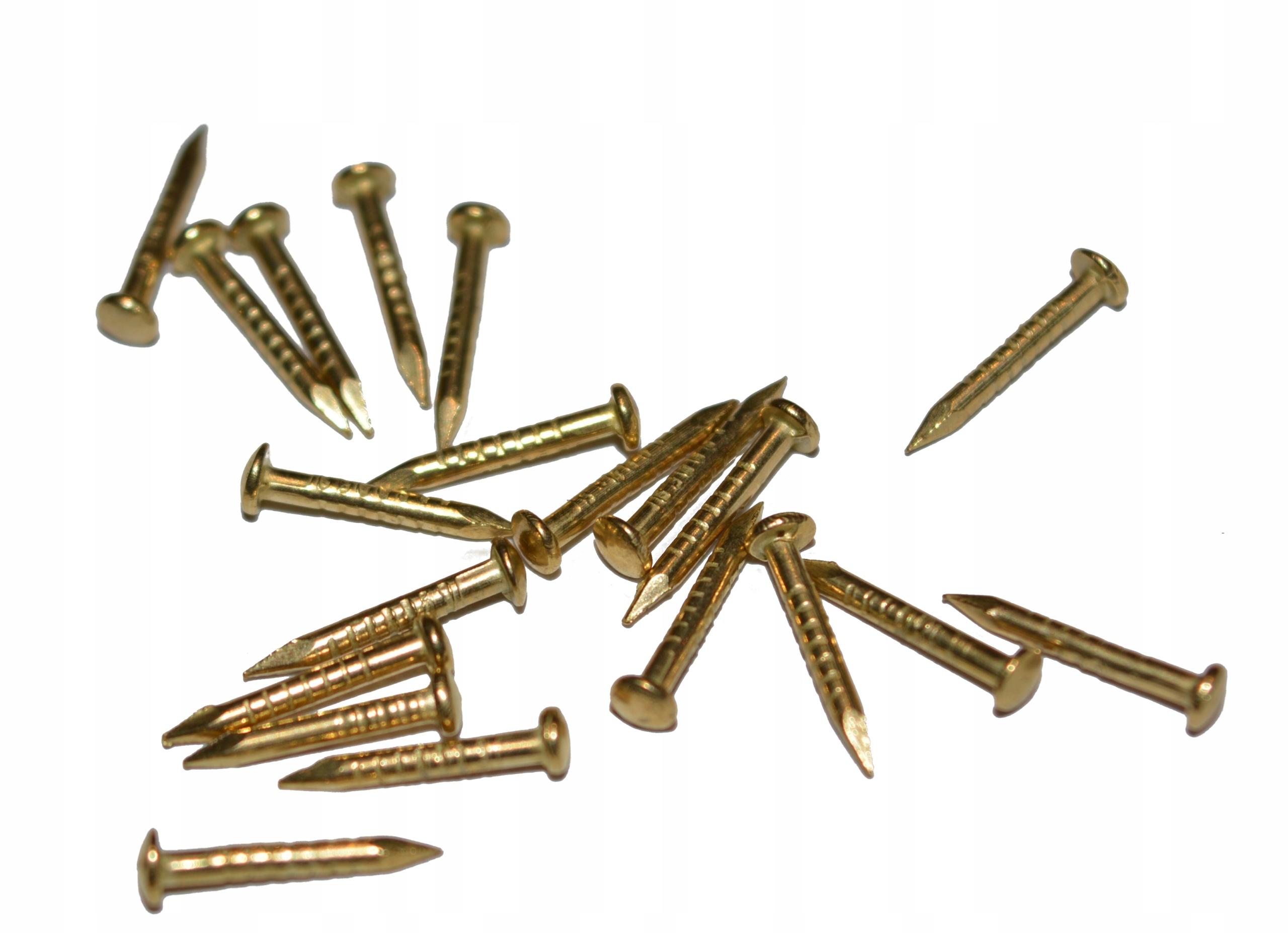 Gwoździe małe gwoździki 10mm złote