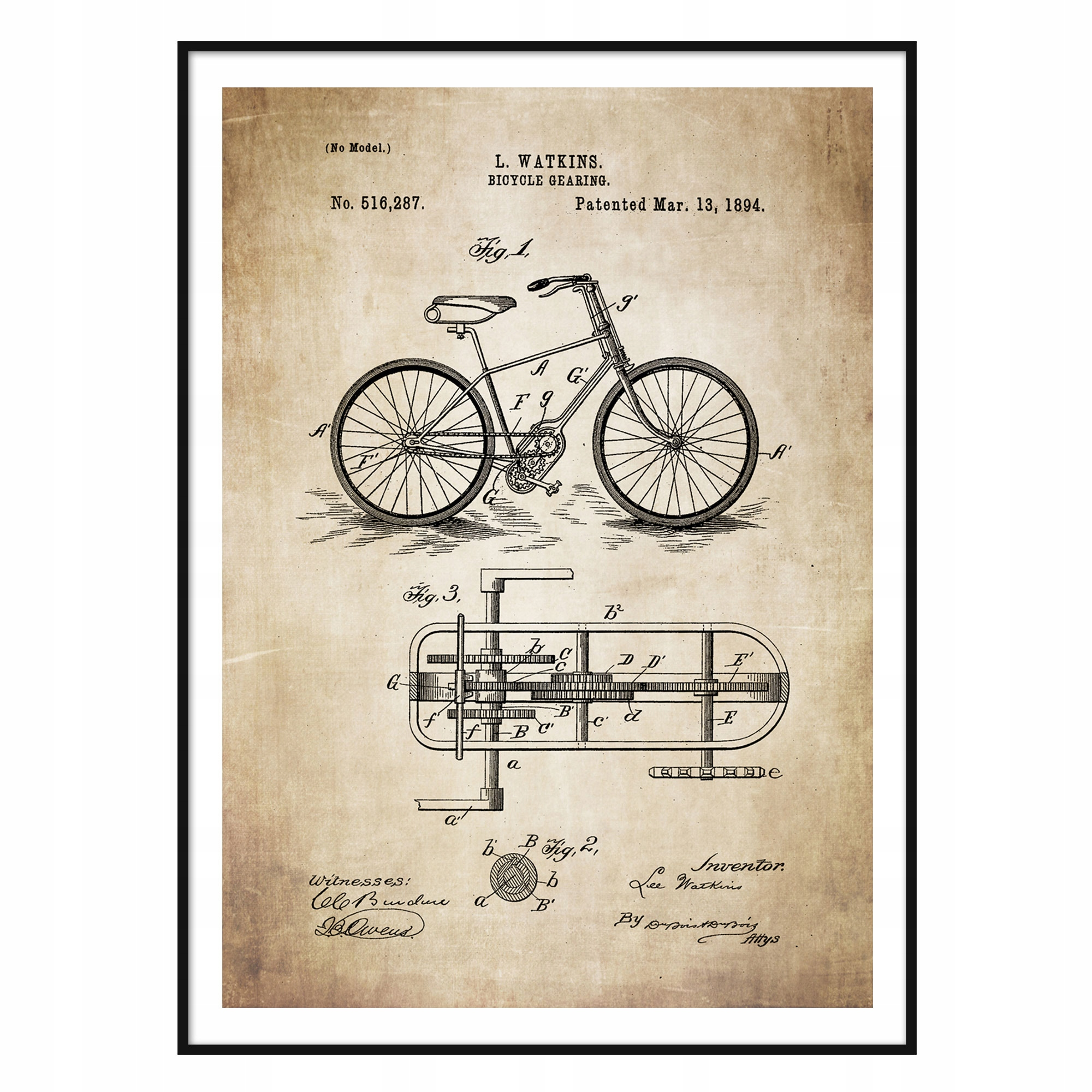Plagát retro patentu Watkins Patent Bike Super A1