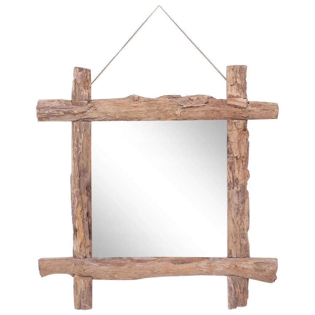 Zrkadlo do kúpeľne v ráme z trámov, 70x70 cm