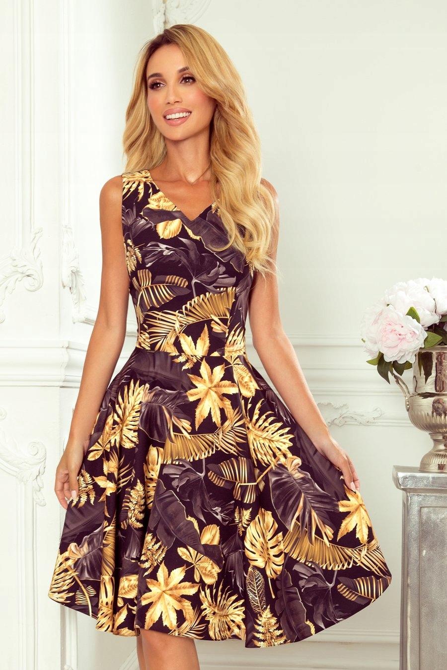Rozkloszowana sukienka w Złote Liście 114-13 L