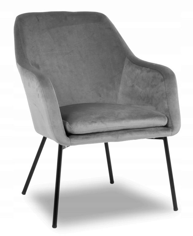Fotel tapicerowany Baron velvet szary