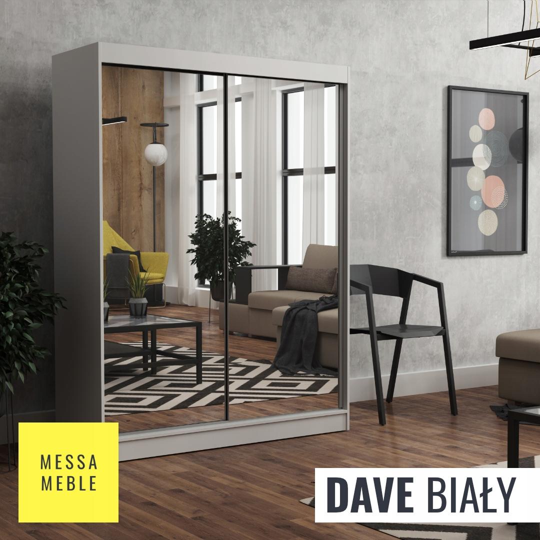 Шкаф-купе Dave 160 см белое зеркало x2