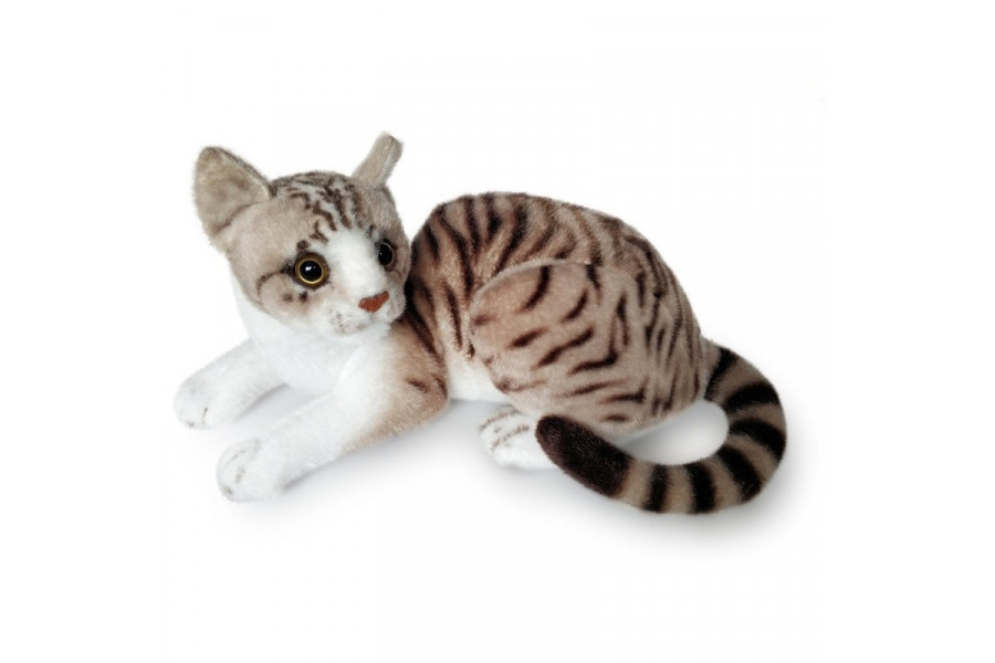 MASCOT CAT WHITE-GREY PLUSH KITTEN 30cm ZOO