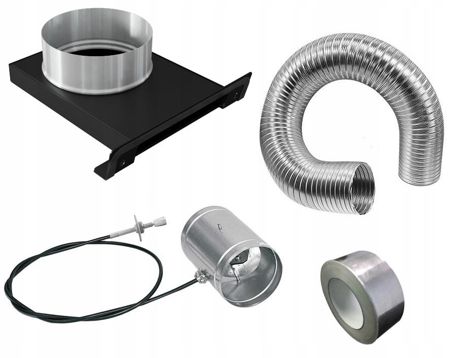Воздухозаборник для камина fi 100 с дроссельной заслонкой