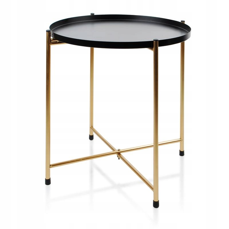 Modny stolik kawowy z tacą złoty okazjonalny loft