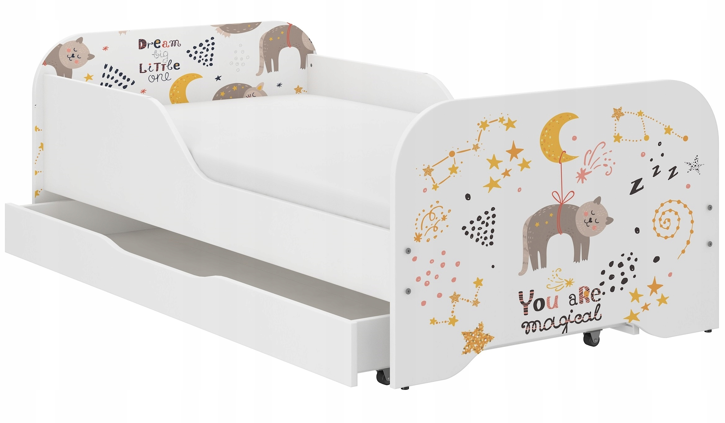 Łóżko MIKI dziecięce 140x70 + materac DUŻO wzorów