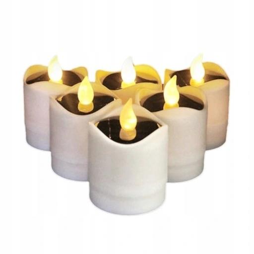 Sada 6-násobných solárnych žiaroviek s plameňom LED