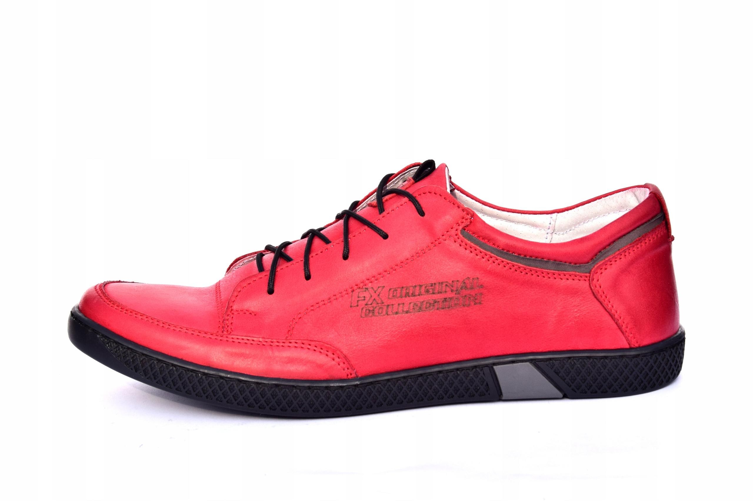 Skórzane czerwone sznurowane półbuty czerwone 0447 Marka inna