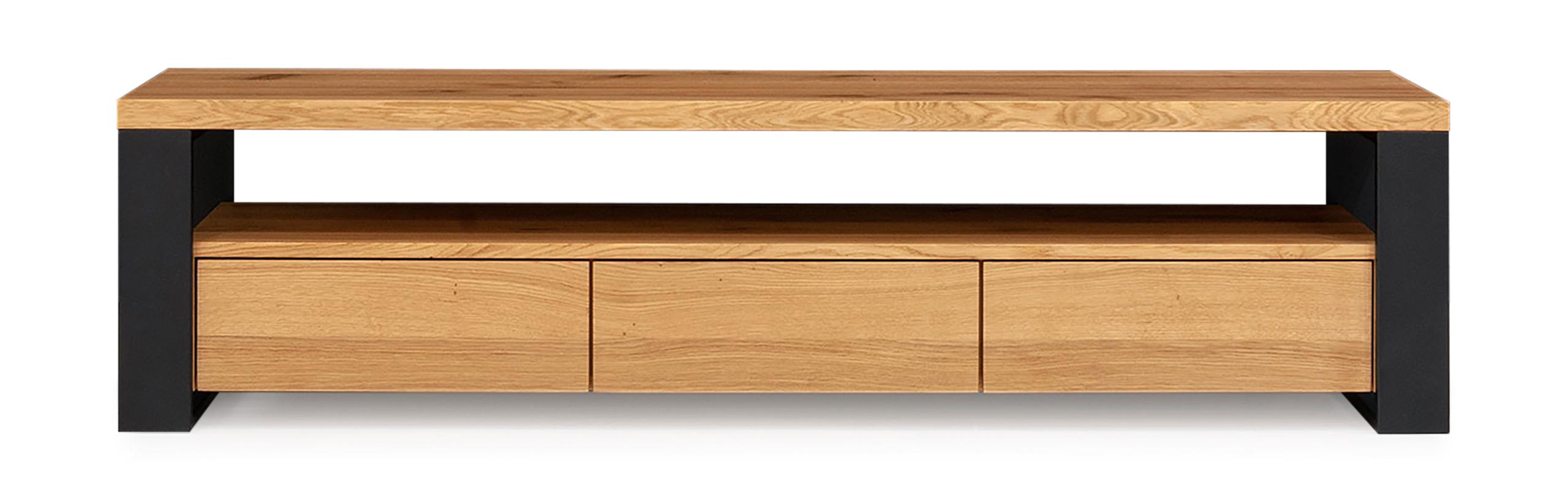 Drevená televízna skrinka, komoda HORIZON 220 cm RETRO