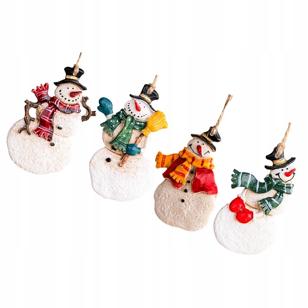 4 ks Retro vianočný snehuliak Mini prívesok Kráska