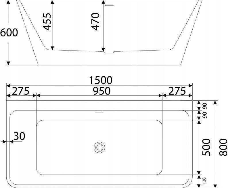 WANNA PRZYŚCIENNA 150x80 CM syfon+korek, Lavita Wysokość 60 cm
