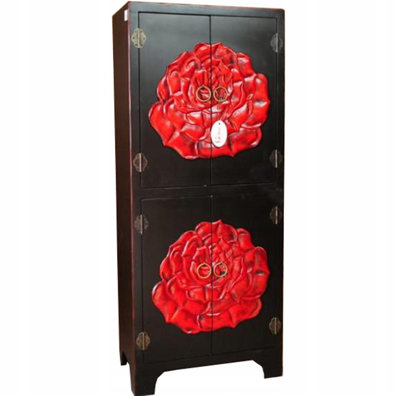 čierna skriňa 4-dverová retro FURNITURE skrinkové ruže