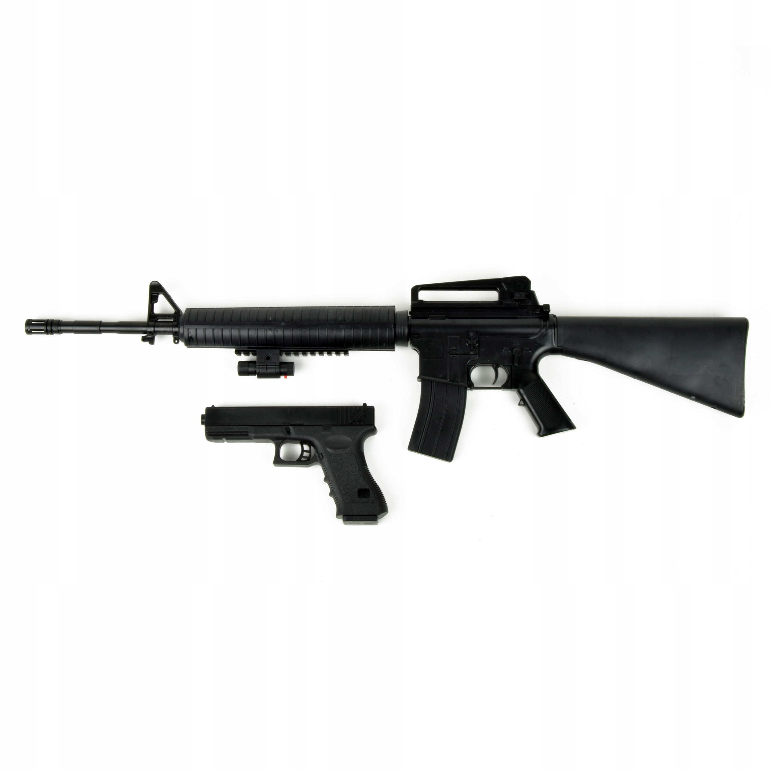 Puška M16 Glock 17 pištoľ 89cm laser BB