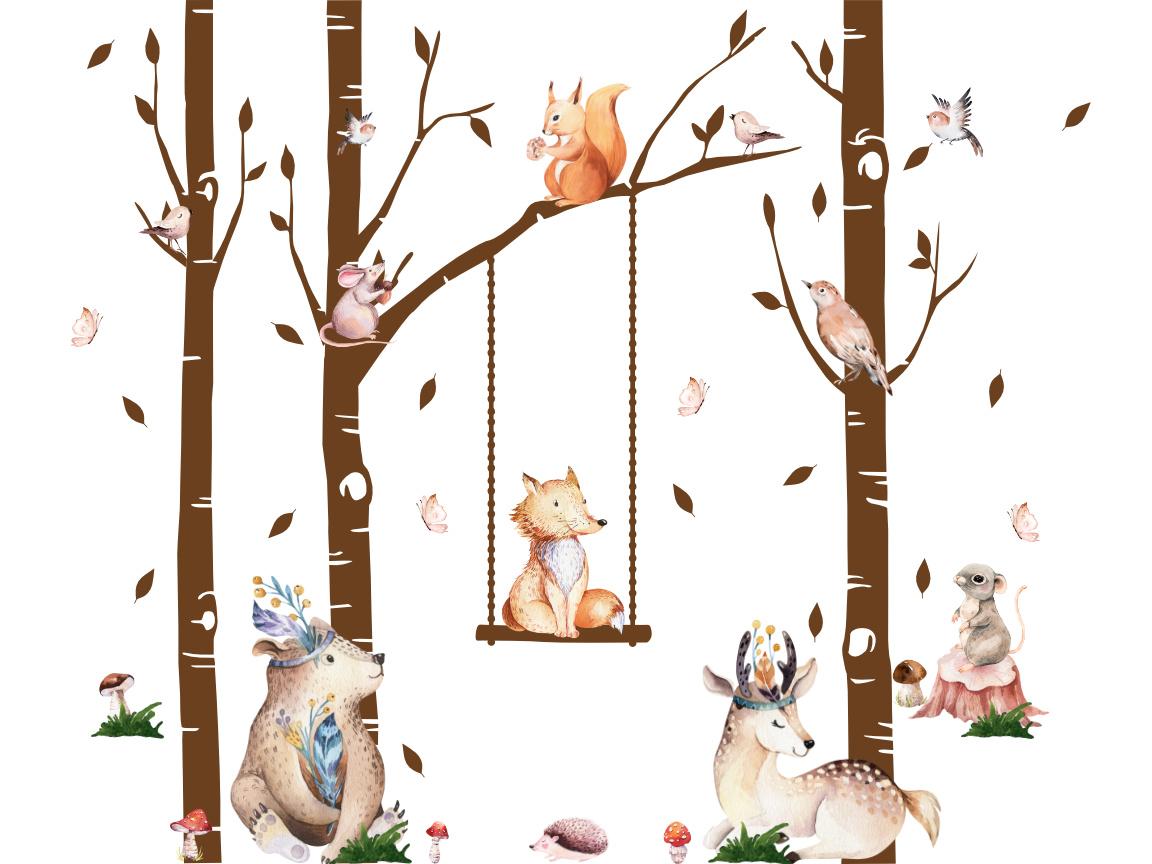 Naklejki na ścianę zwierzęta w lesie 3m x 2.8m XXL