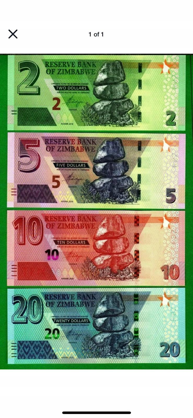 ZIMBABWE 2 5 10 20 $ 2019 2020