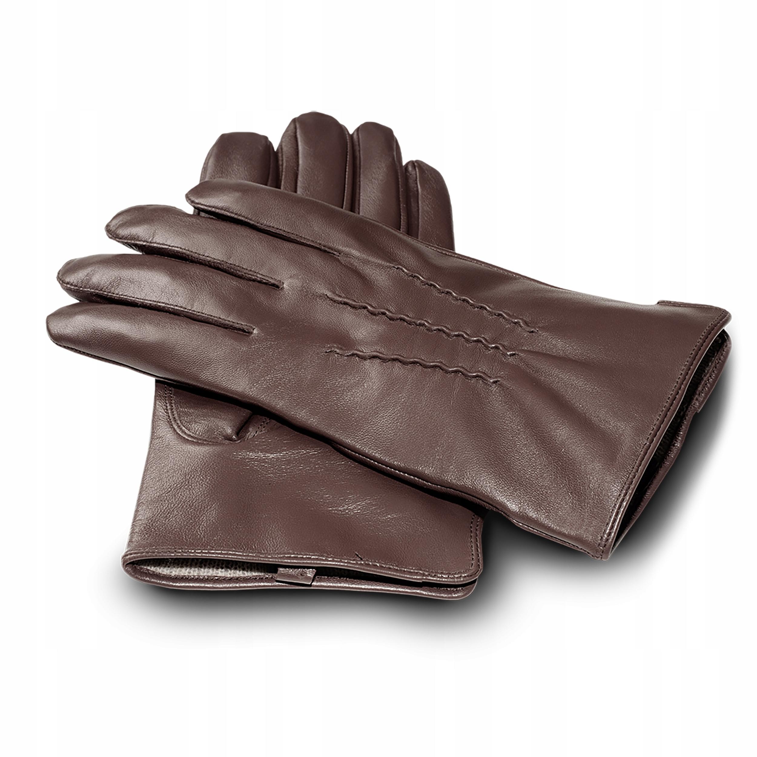 Rękawiczki skórzane męskie dotykowe zimowe kaszmir