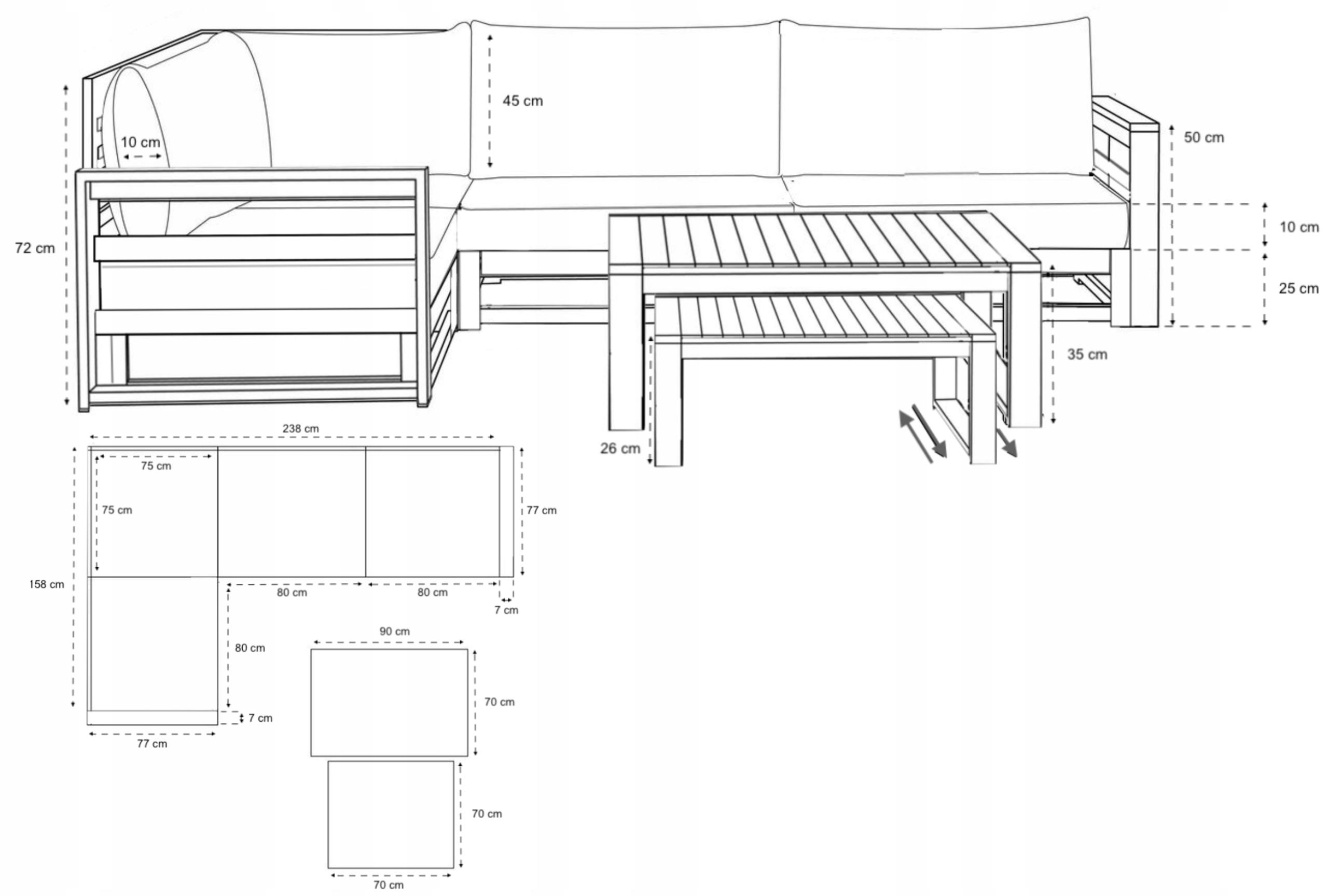 Sada záhradného nábytku z dreva 4-SEATOR + 2 LAVICE Počet osôb 4