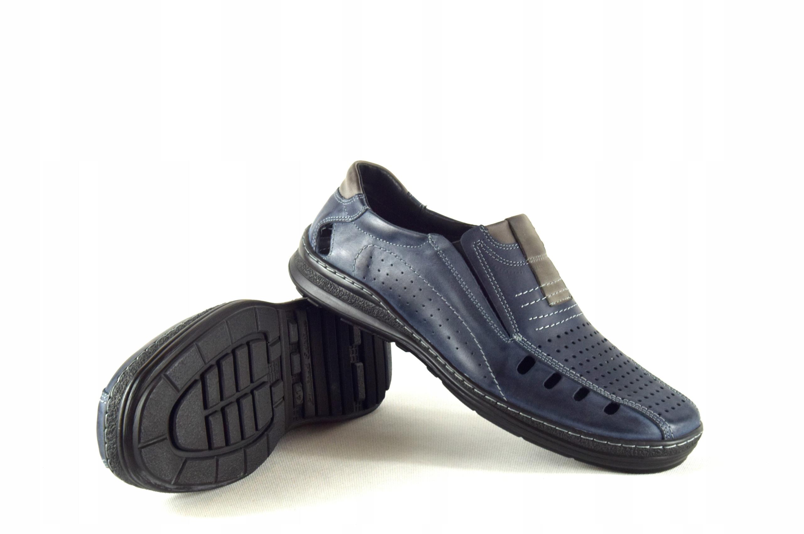 Lekkie dziurkowane męskie buty ze skóry PL 190L Kolor granatowy