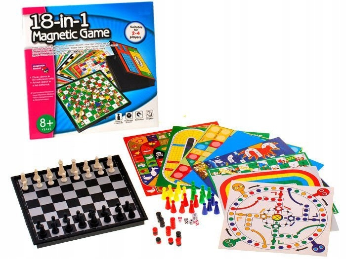 ZESTAW GIER 18 w1 gra planszowa szachy GR0081 Płeć Chłopcy Dziewczynki