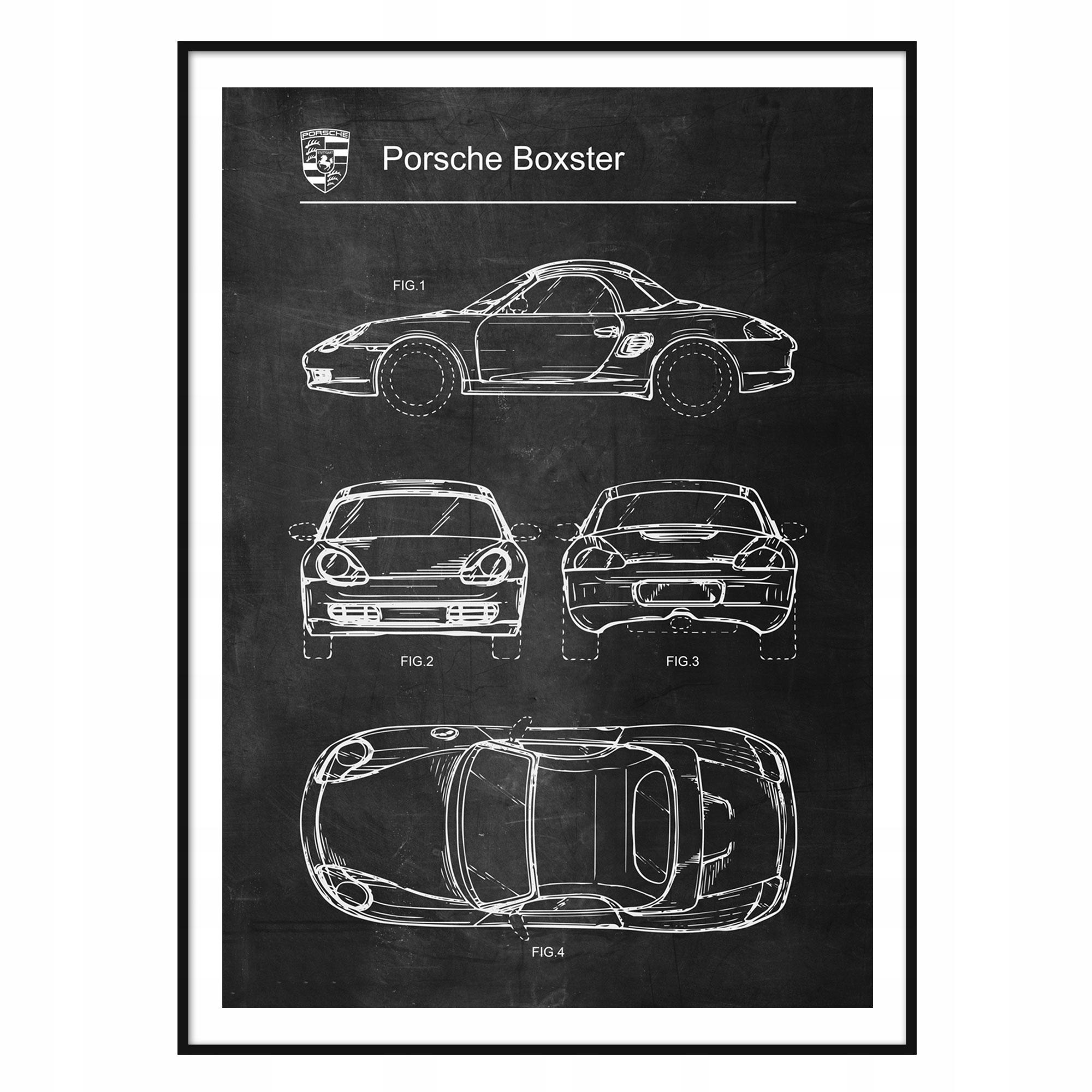 Schématický plagát retro patentu Porsche Boxster 1997