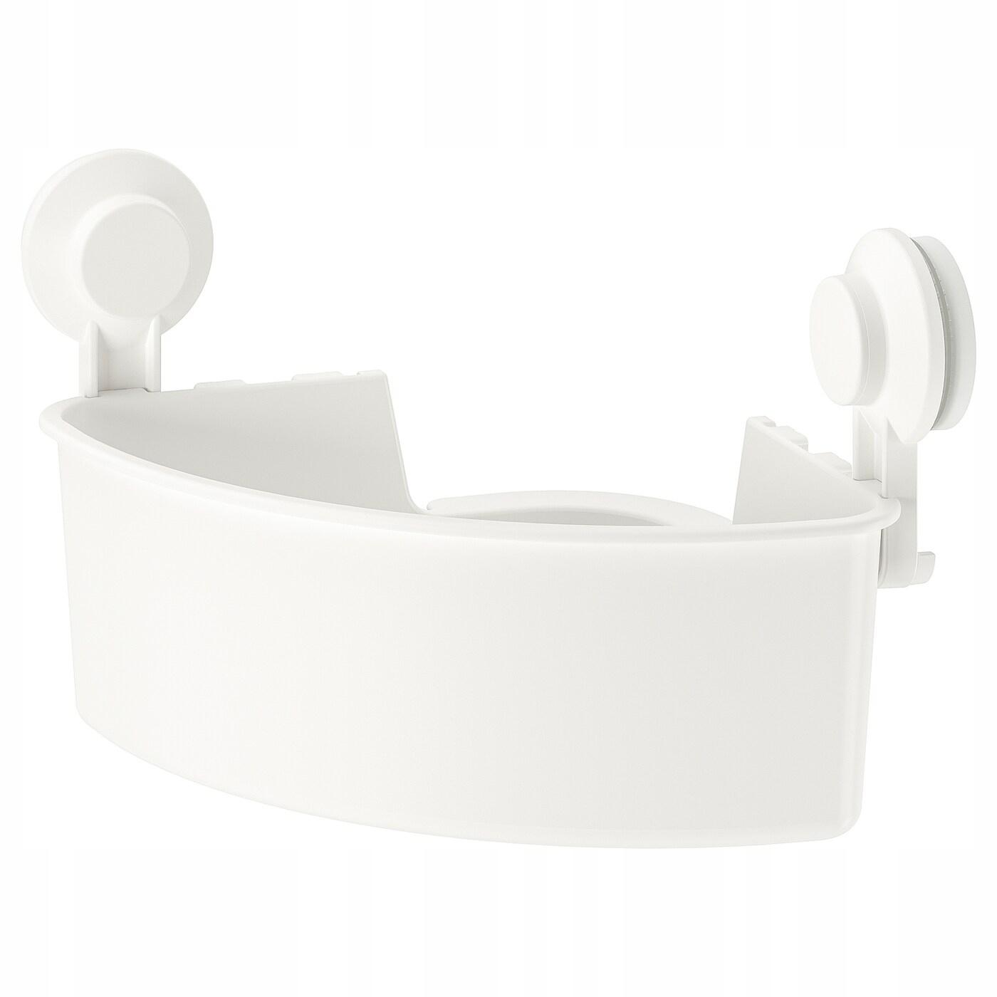 IKEA TISKEN Półka narożna z przyssawką biały