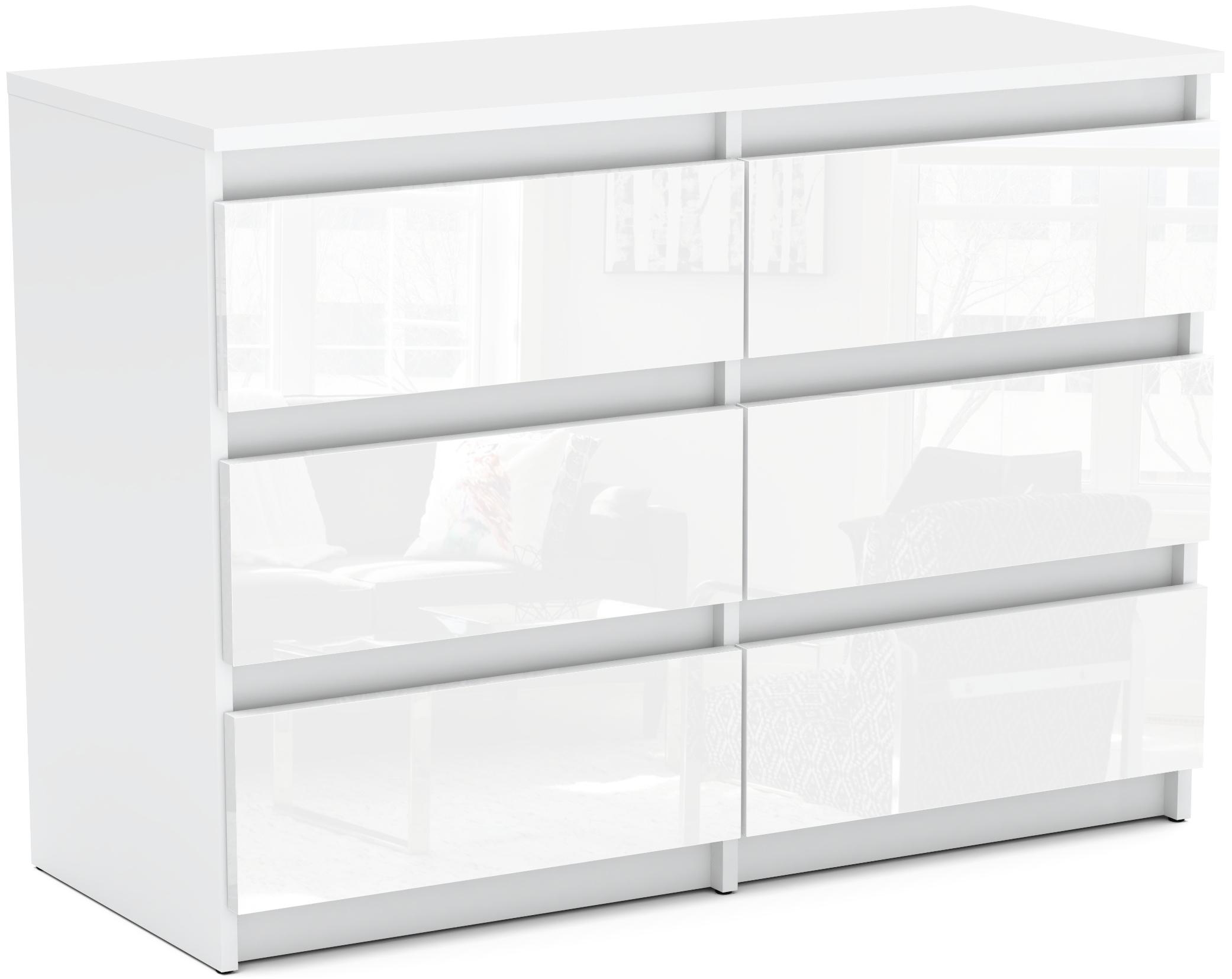 Комод с 6 ящиками GLOSS WHITE шкаф ДОСТАВКА 24Ч