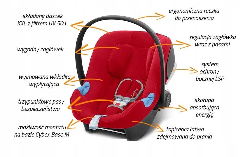 CYBEX ATON B I-SIZE FOTELIK LEKKI 4*ADAC Informacje dodatkowe Regulacja pozycji dziecka