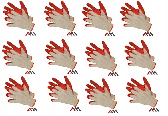 Перчатки рабочие Wampirki RW RED латексные 10 пар R L