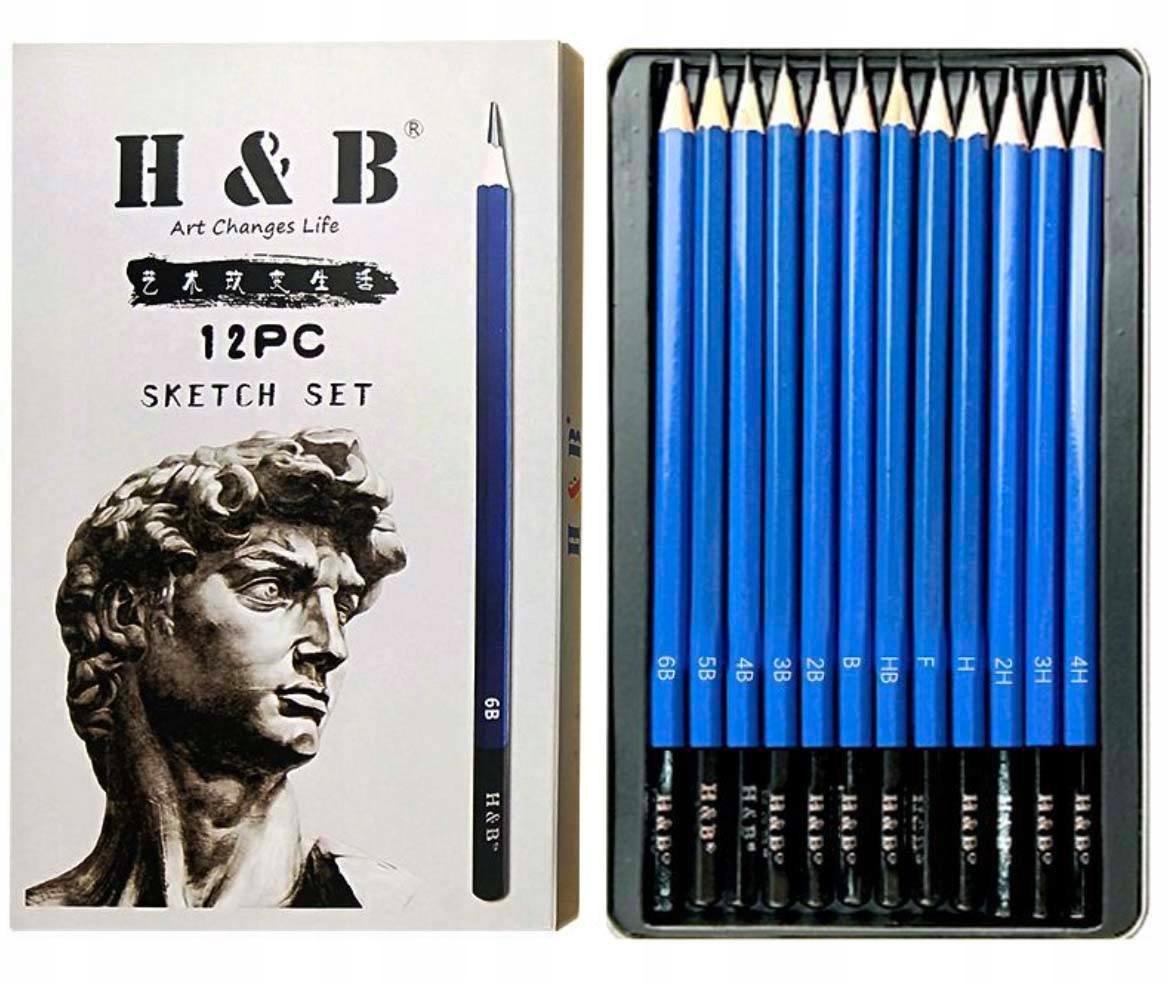 Profesjonalny Zestaw Ołówków 12 szt do Szkicowania