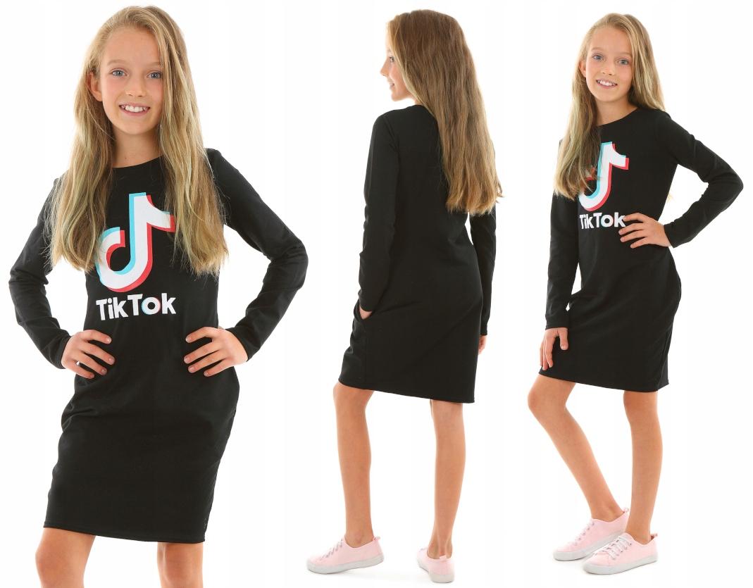 Платье с длинным рукавом, TIK TOK - 146 BLACK