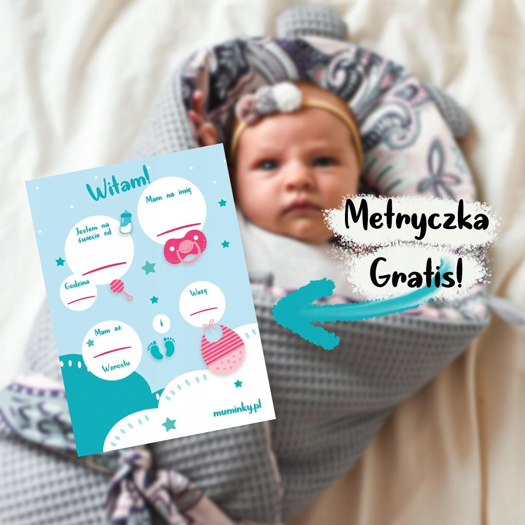 Zestaw niemowlęcy otulacz muślinowy poduszka MIŚ Marka Muminky