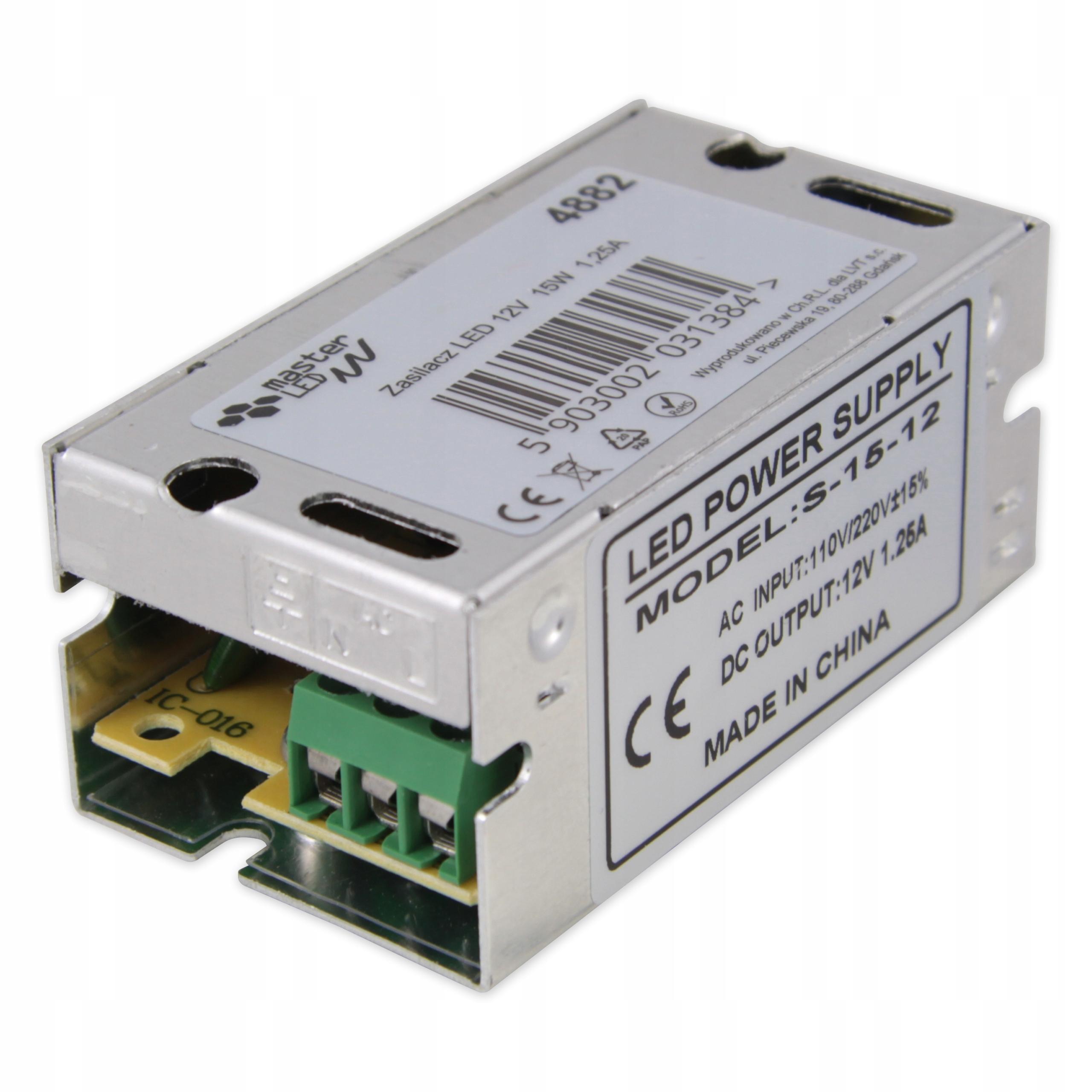 Монтажный блок питания 1.25А для светодиодных лент 12В 15Вт IP20