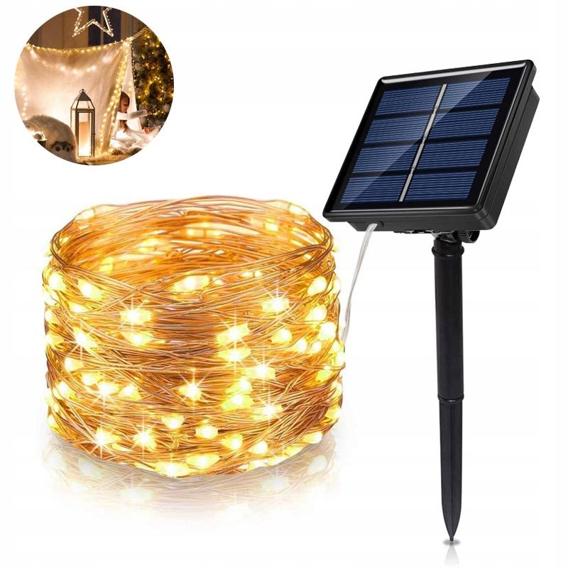 100 LED 10 M Lampki Solarne Ogrodowe Żarówka Lampa