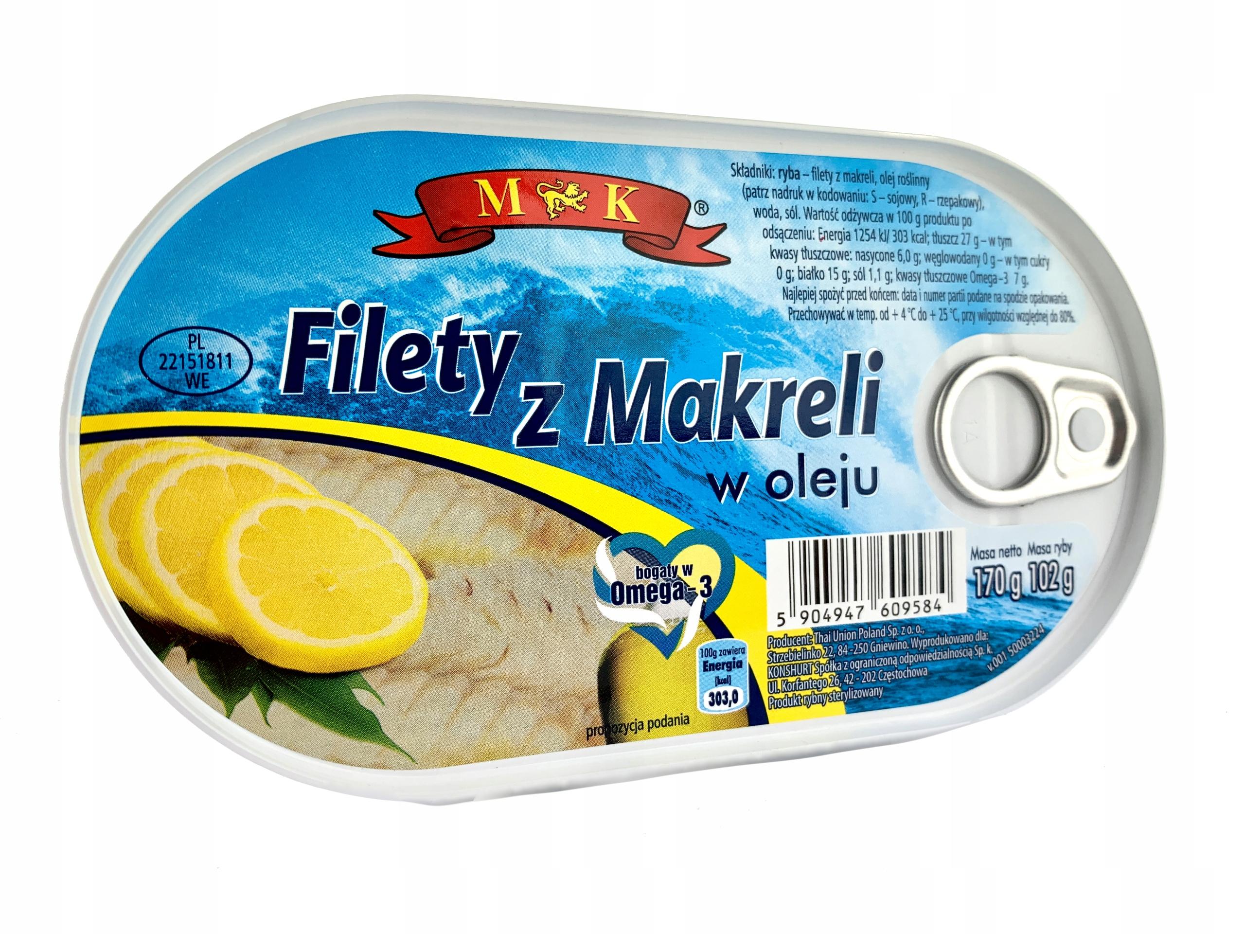 Купить МАКРЕЛЬНОЕ ФИЛЕ В МАСЛЕ MK 170 G на Otpravka - цены и фото - доставка из Польши и стран Европы в Украину.