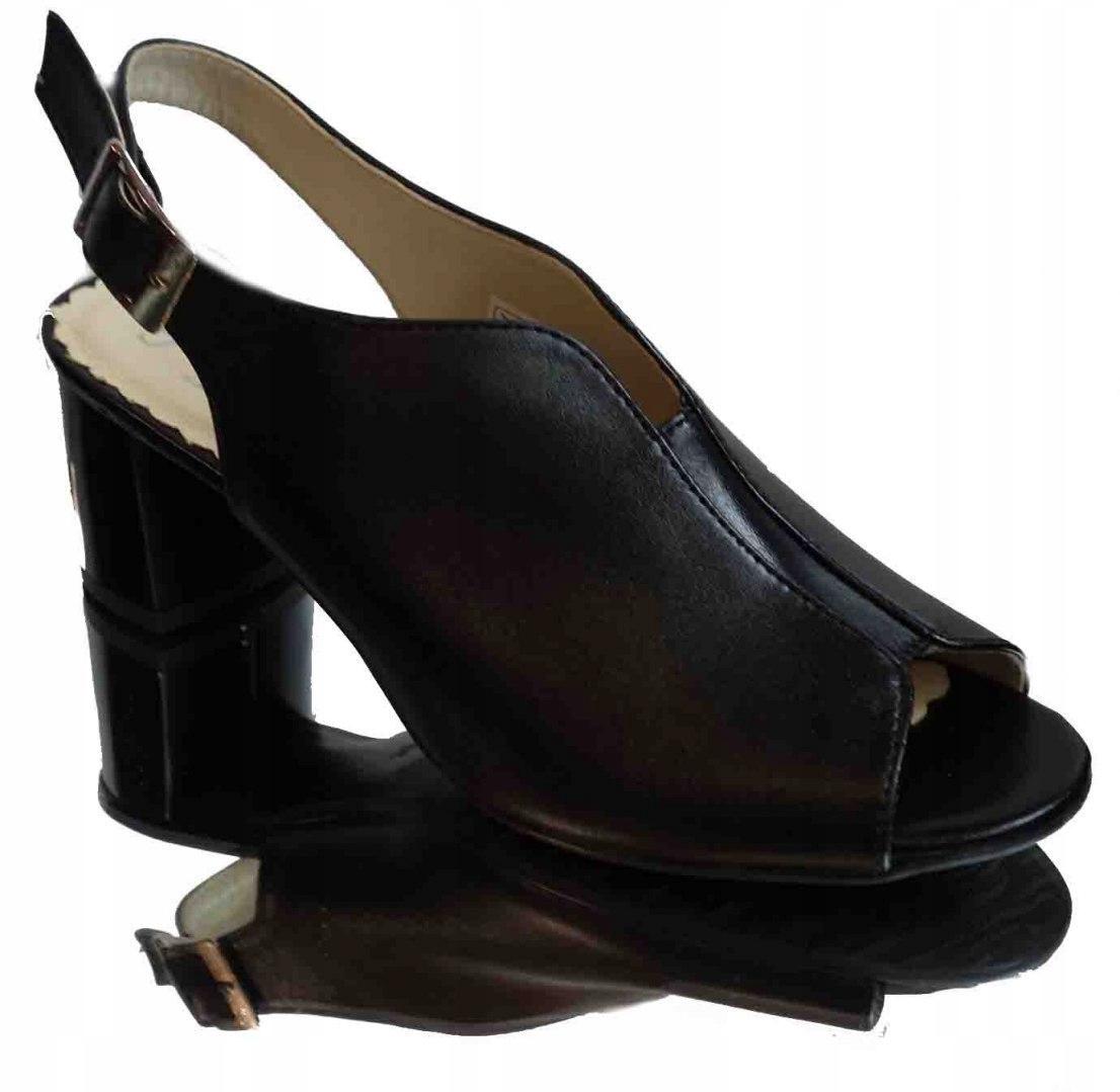 Skórzane sandałki Fashion obcas tęg.G H czarny 41