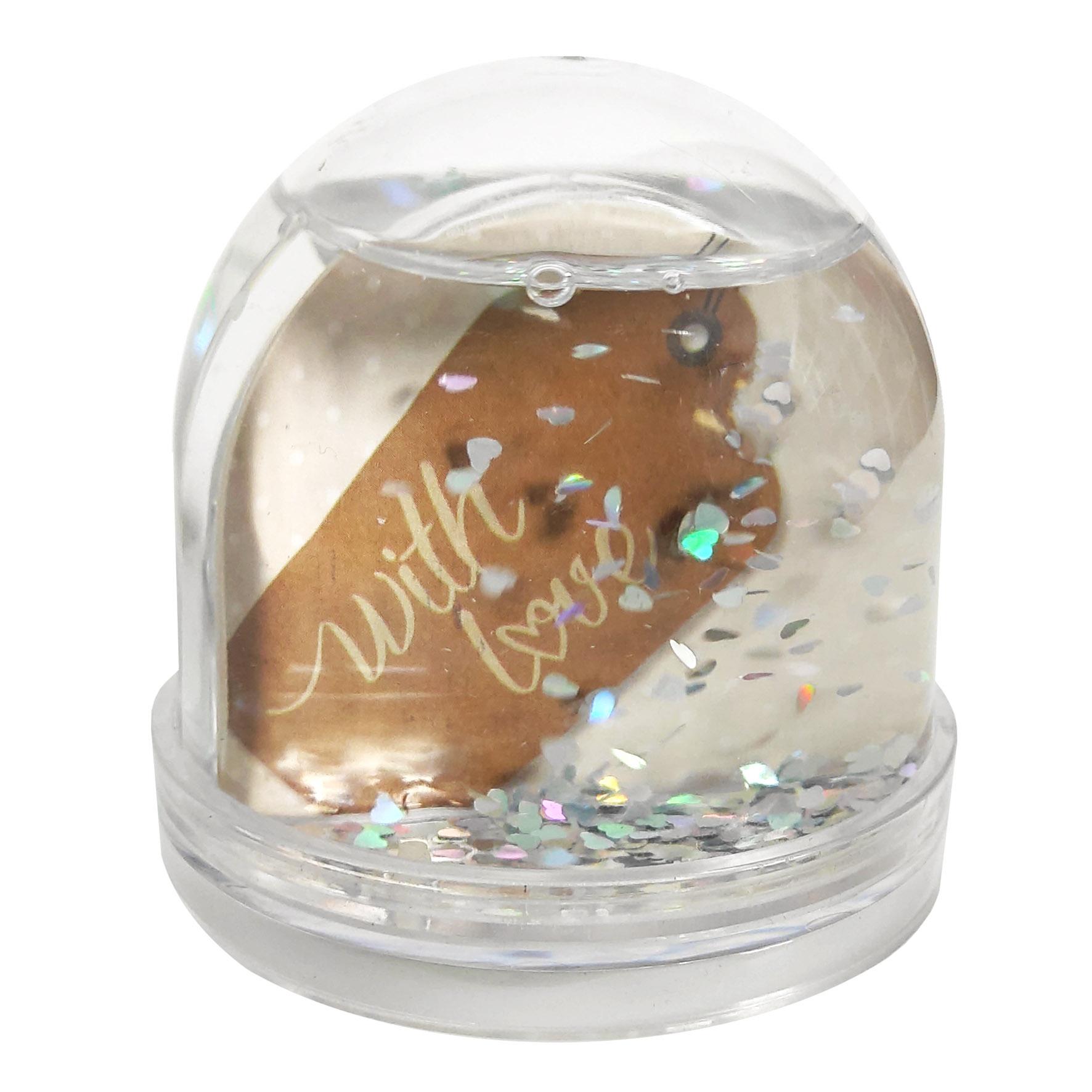 Ramka na zdjęcie kula wodna z brokatem walentynki