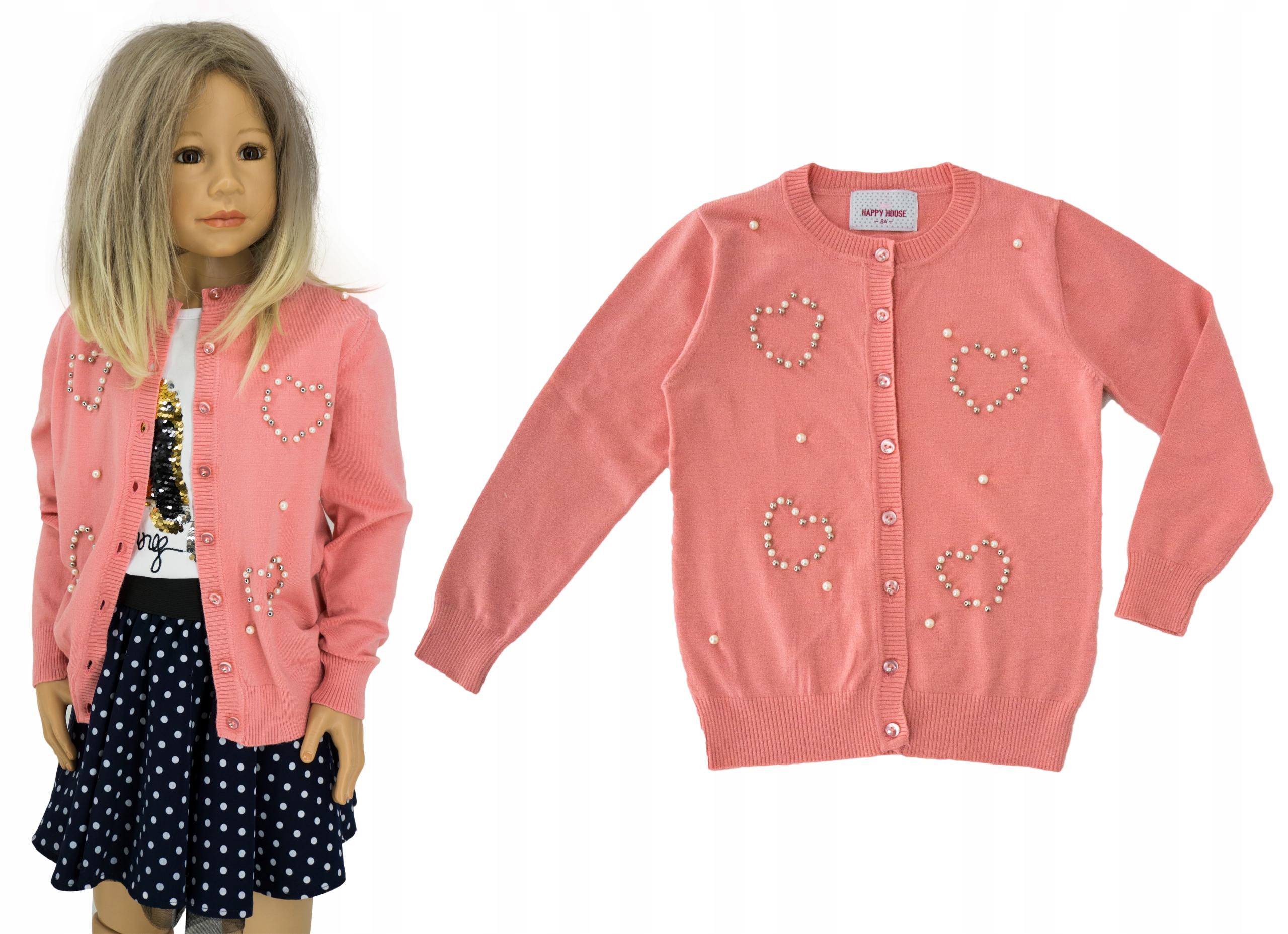 Rozpinany sweterek perełki M0150 rozmiar 116