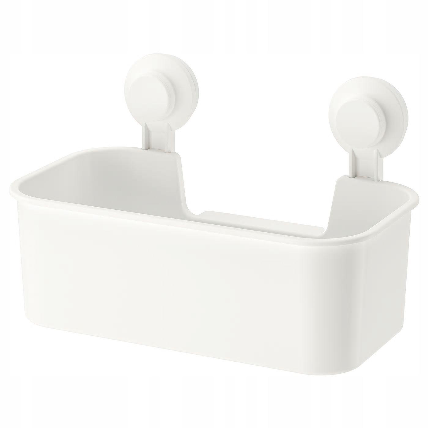 IKEA TISKEN Kosz z przyssawkami pojemnik biały