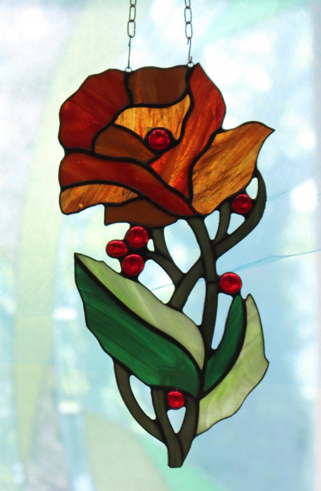 Витраж цветок на женский день, день матери, бабушкин подарок