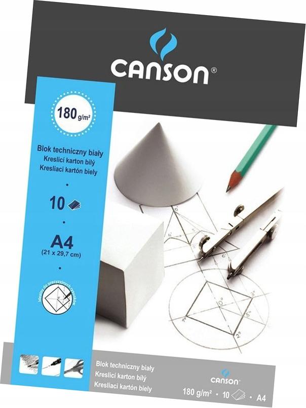 BLOK TECHNICZNY A4 Biały CANSON 10 arkuszy