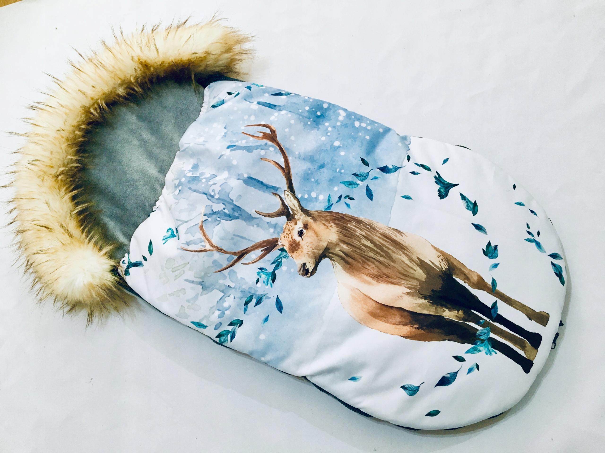 4v1 zimný jeleňový spacák pre sánkový vozík