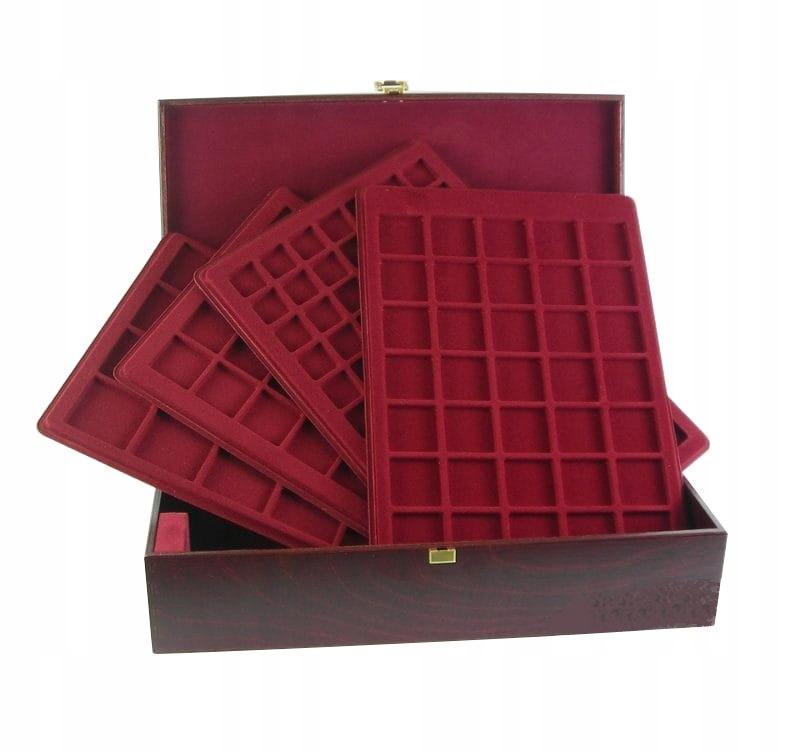 Elegancki kuferek drewniany palety na 214 monet