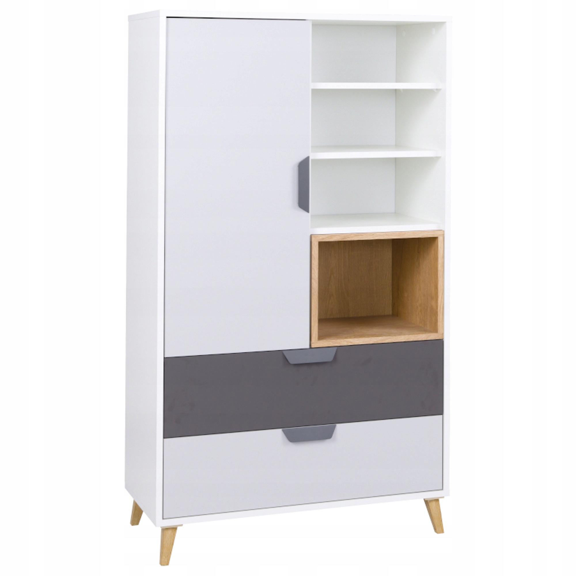 Молодежный книжный шкаф ROOM серый / белый / дуб лефкас