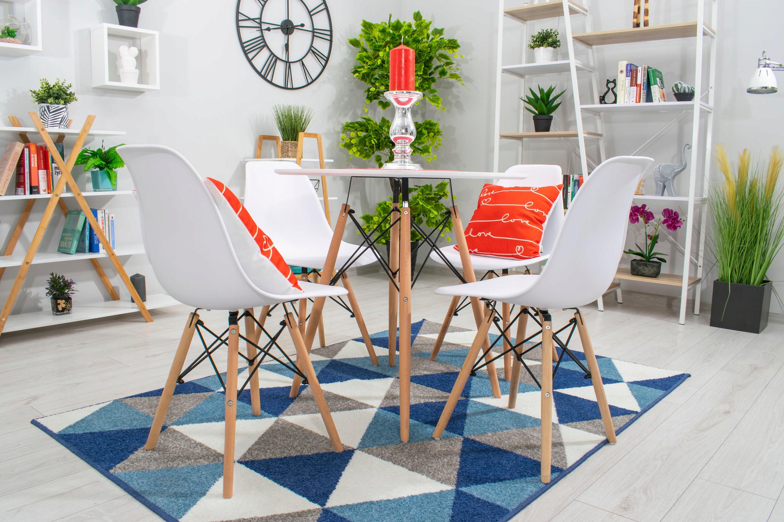 Stół + 4 Krzesła Nowoczesny Skandynawski Styl DSW Wysokość krzesła 80 cm