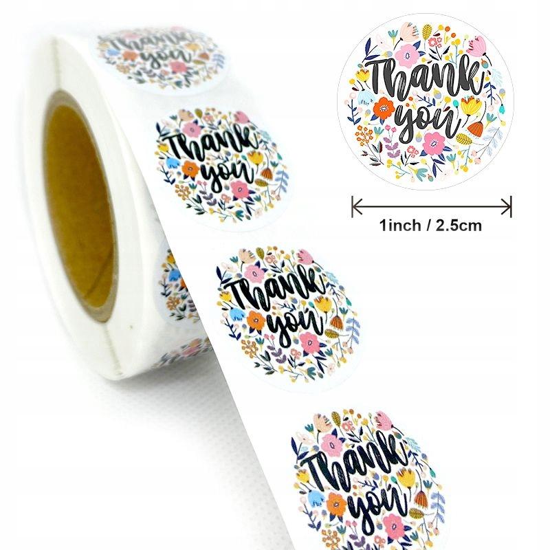 Декоративные наклейки Спасибо - дизайн 1, 500 штук