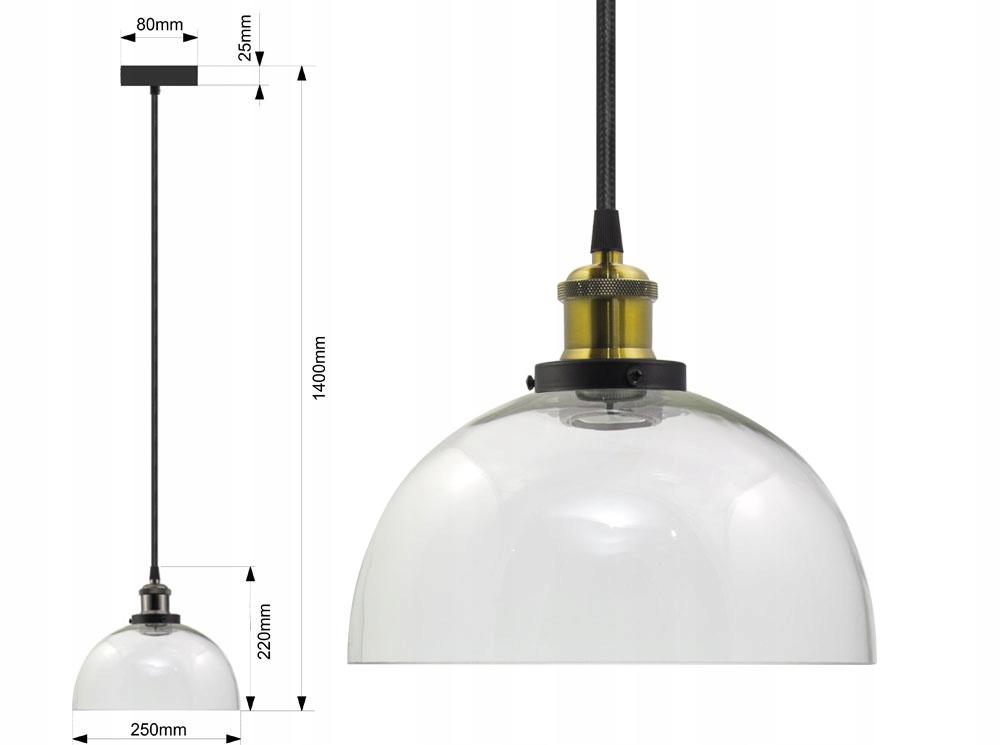 LAMPA SUFITOWA SZKLANA VASO UX ŻYRADNOL LED LOFT A Długość/wysokość 140 cm
