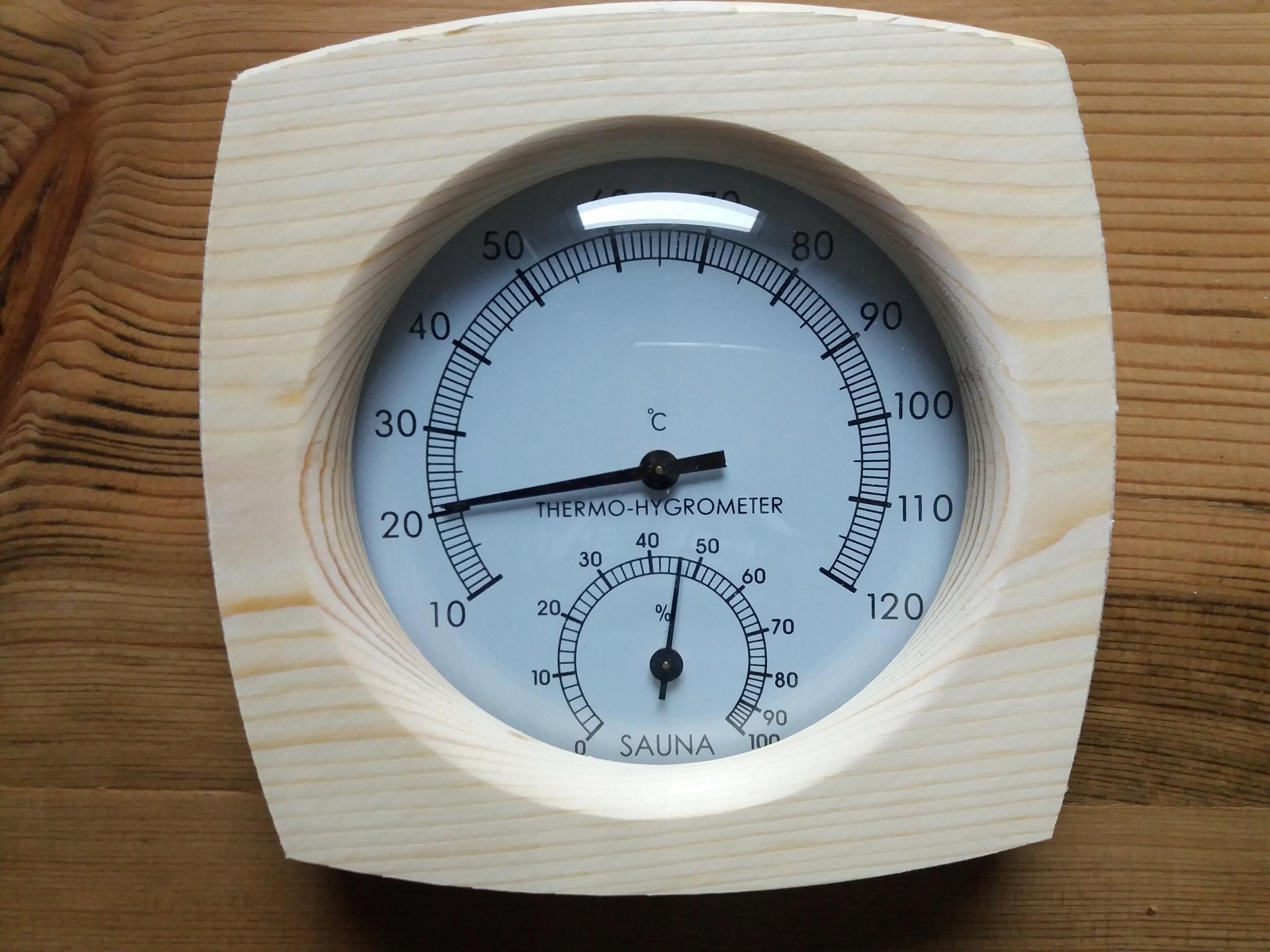 Термометр с гигрометром для деревянных часов сауны